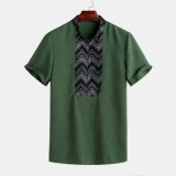 Mens Vintage Stripe Pattern Breathable Stand Collar Casual Shirts