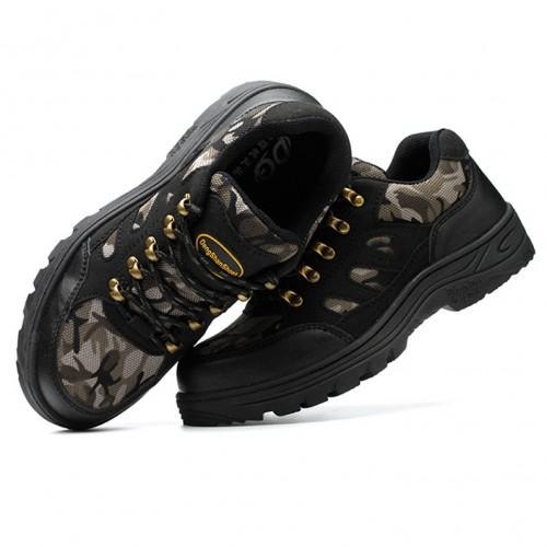 TENGOO Men's Safety Shoes Steel Toe Waterproof Non-Slip Anti-Smashing Hiking Camping Fishing Work Shoes