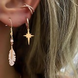 Bohemian Gold Alloy 3 Pieces Earring Set Crystal Star Ear Drop Ear Stud Set For Women