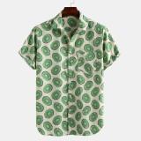 Mens Summer Avocado Printed Breathable Loose Comfy Casual Shirts