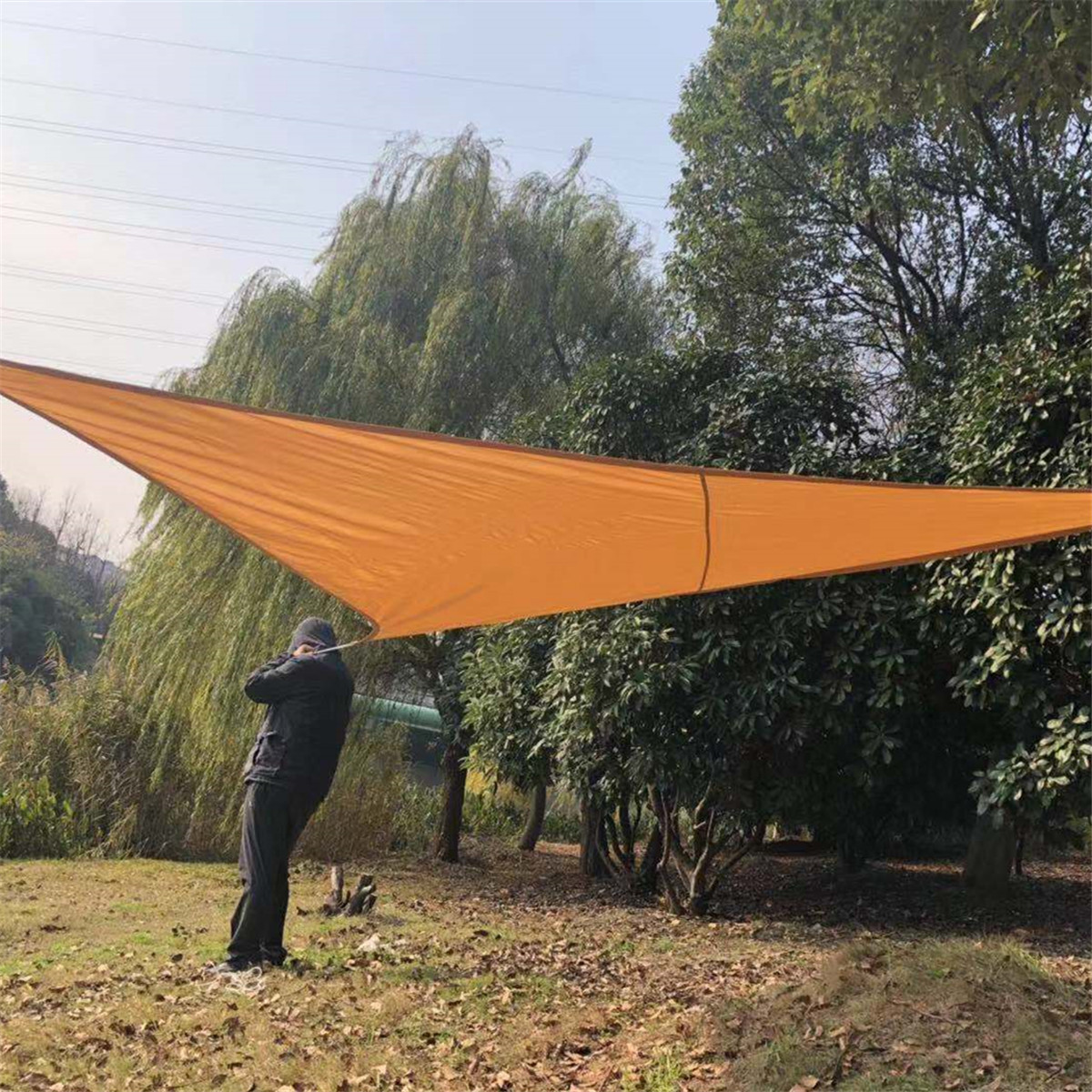 5x5m Outdoor Triangle Sun Sail Shade Garden Patio Tent Sunshade Canopy Awning Waterproof UV Cover
