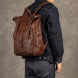 Ekphero Men Women PU Leather Vintage Large Captial Backpack Laptop bags School Bag Shoulder Bags