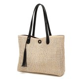 11L Women Straw Tassel Handbag Beach Shoulder Bag Shopping Tote Bag Outdoor Travel