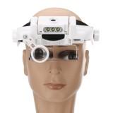 1.5X 2.0X 8X Headband Magnifying Glass bracket 3 LED Light Protable Helmet Illuminated Magnifier