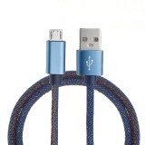 1M 2.4A Micro USB Fast Charging Denim Braided Data Cable For Smartphone Tablet
