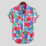 Mens Summer Colorful Roundness Printed Short Sleeve Casual Shirts