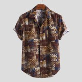 Mens Summer Plaid Printed 100% Cotton Short Sleeve Casual Shirts