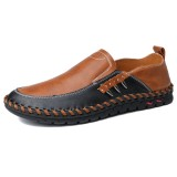 Men Genuine Leather Slip Resistant Soft Soles Slip On Business Casual Oxfords
