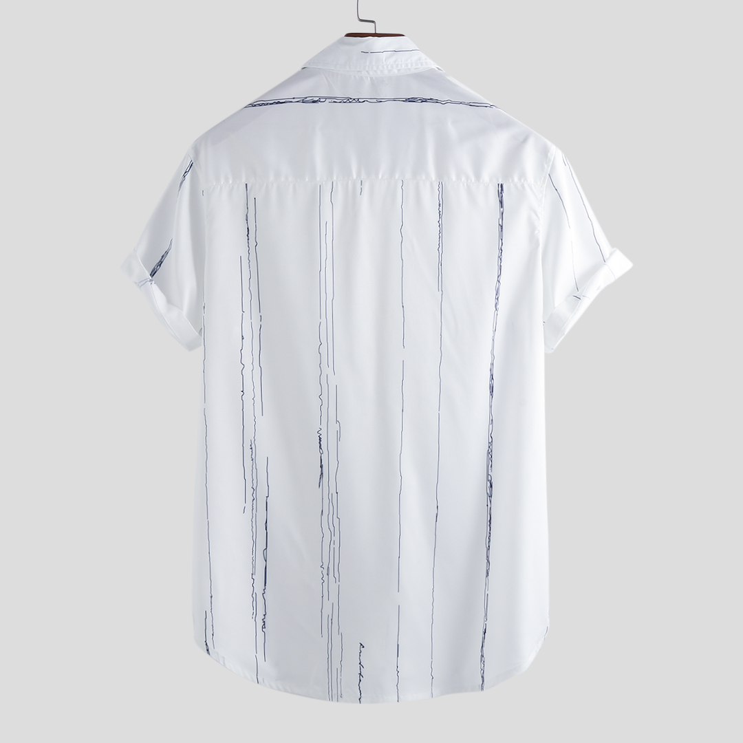 Mens Summer Fashion Stripe Printer Pocket Short Sleeve Casual Shirts