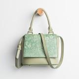 Women Vintage Genuine Leather Floral Handbag Crossbody Bag Shoulder Bag