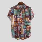 Mens Fashion Multi Printed Cotton Breathable Short Sleeve Casual Shirts