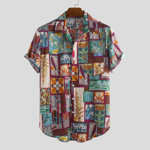 Mens Fashion Multi Printed Cotton Breathable Short Sleeve Casual Shirts