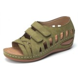 Lostisy Large Szie Women Cross Belt Breathable Pure Color Sandals