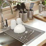 Dish Drying Rack Roll Up NO-Slip Silicone-coated Kitchen Multipurpose Sink Drainer Foldable Drain Shelf