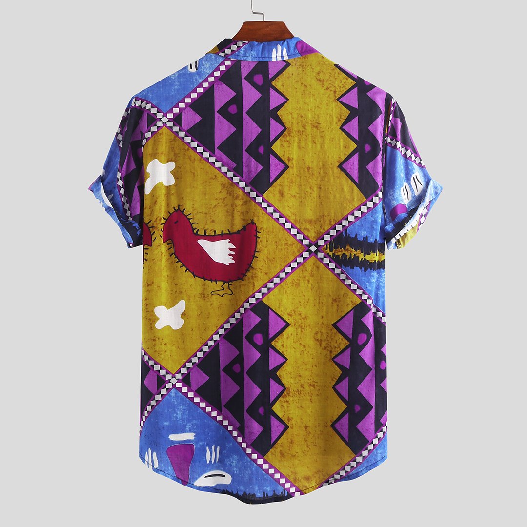 Mens Summer Color Block Cotton Short Sleeve Loose Casual Hawaii Shirts