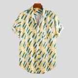 Mens Summer Holiday Practical Pocket Printed Short Sleeve Casual Shirts