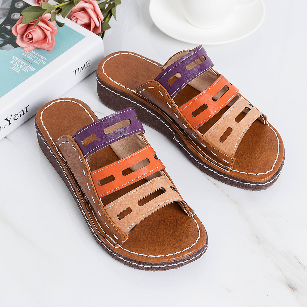 Large Size Women Hollow Out Comfy Splicing Slippers
