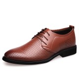 Men Genuine Leather Breathable Hollow Out Business Casual Oxfords