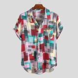Mens Summer Colorful Plain Printed Pocket Short Sleeve Casual Shirts