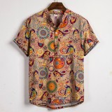 Men Ethnic Pattern Print Short Sleeve Henley Shirts