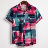 Mens Summer Colorful Plaid Printed Turn Down Collar Casual Shirts