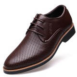 Men Microfiber Leather Breathable Hollow Out Business Casual Oxfords