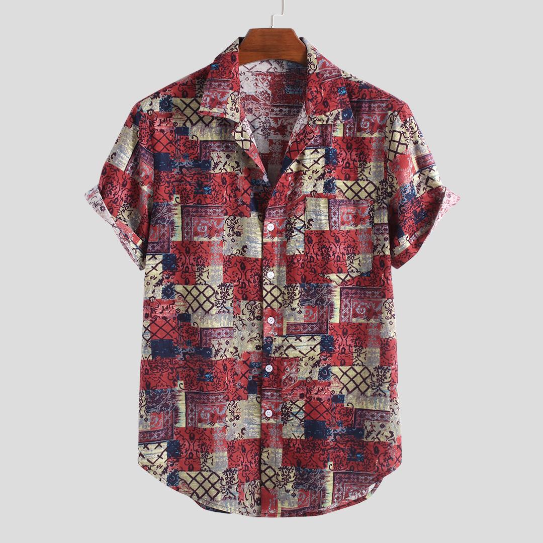 Mens Summer Plaid Printed 100% Cotton Short Sleeve Casual Shirts