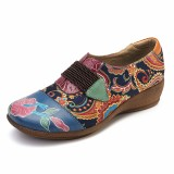 Socofy Large Size Women Retro Floral Comfortable Pumps