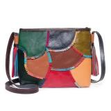 Women Patchwork Vintage Genuine Leather Colorful Crossbody Bag Shoulder Bag