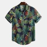 Mens Summer Tropical Printed Loose Short Sleeve Casual Shirts