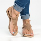 Large Size Women Roman Clip Toe Hollow out Flat Sandals