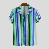 Mens Summer Colorful Stripe Printed Turn Down Collar Casual Shirts