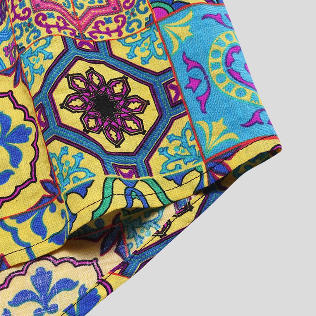 Mens Summer Floral Printed Breathable Short Sleeve Casual Hawaii Shirts