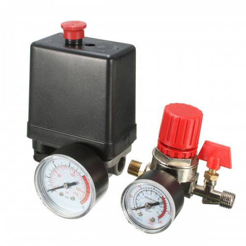 7.25-125PSI Air Compressor Pressure Switch Air Valve Manifold Compressor Regulator Gauges 240V