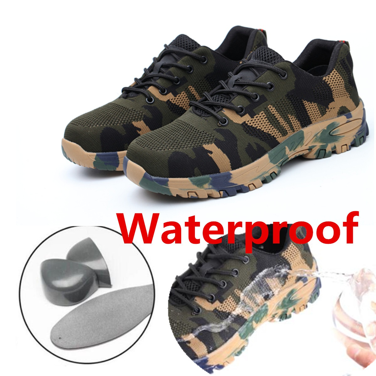 TENGOO Safety Shoes Labor Insurance Shoes Steel Toe Waterproof Anti-Smashing Non-Slip Outdoor Hiking Work Shoes