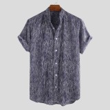 Mens Ethnic Summer Stripe Breathable Turn Down Collar Casual Shirts