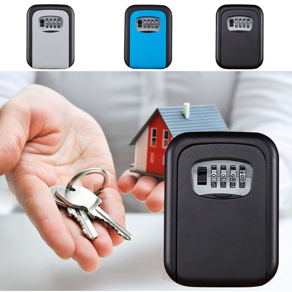 Larger Capacity Digit Code Lock Key Safe Box Outdoor Storage Case Wall Mounted Anti-theft