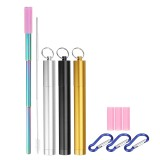 Stainless Steel Portable Reusable Collapsible Drinking Straw and Cleaning Brush