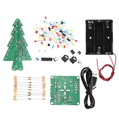 Geekcreit DIY Three Color Light Audio Voice Control Spectrum Christmas Tree Kit With Battery Box
