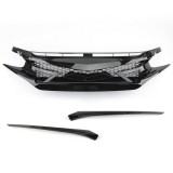 Battle Style Out Front Hood Grille For 16-19 Honda Civic 10TH GEN GLOSS BLK JDM