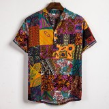 Mens Ethnic Style Patchwork Floral Printing Cotton Casual Henley Shirts