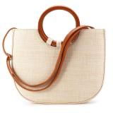 6L Women Straw Rattan Bag Woven Beach Handbag Shoulder Tote Outdoor Travel