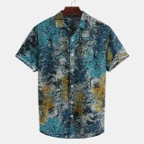Mens Summer Cotton Floral Printed Short Sleeve Hawaiian Casual Shirts