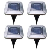 Solar Power 4 LED Buried Light Ground Lamp Cool/Warm White Outdoor Path Garden Decking Underground Lamp