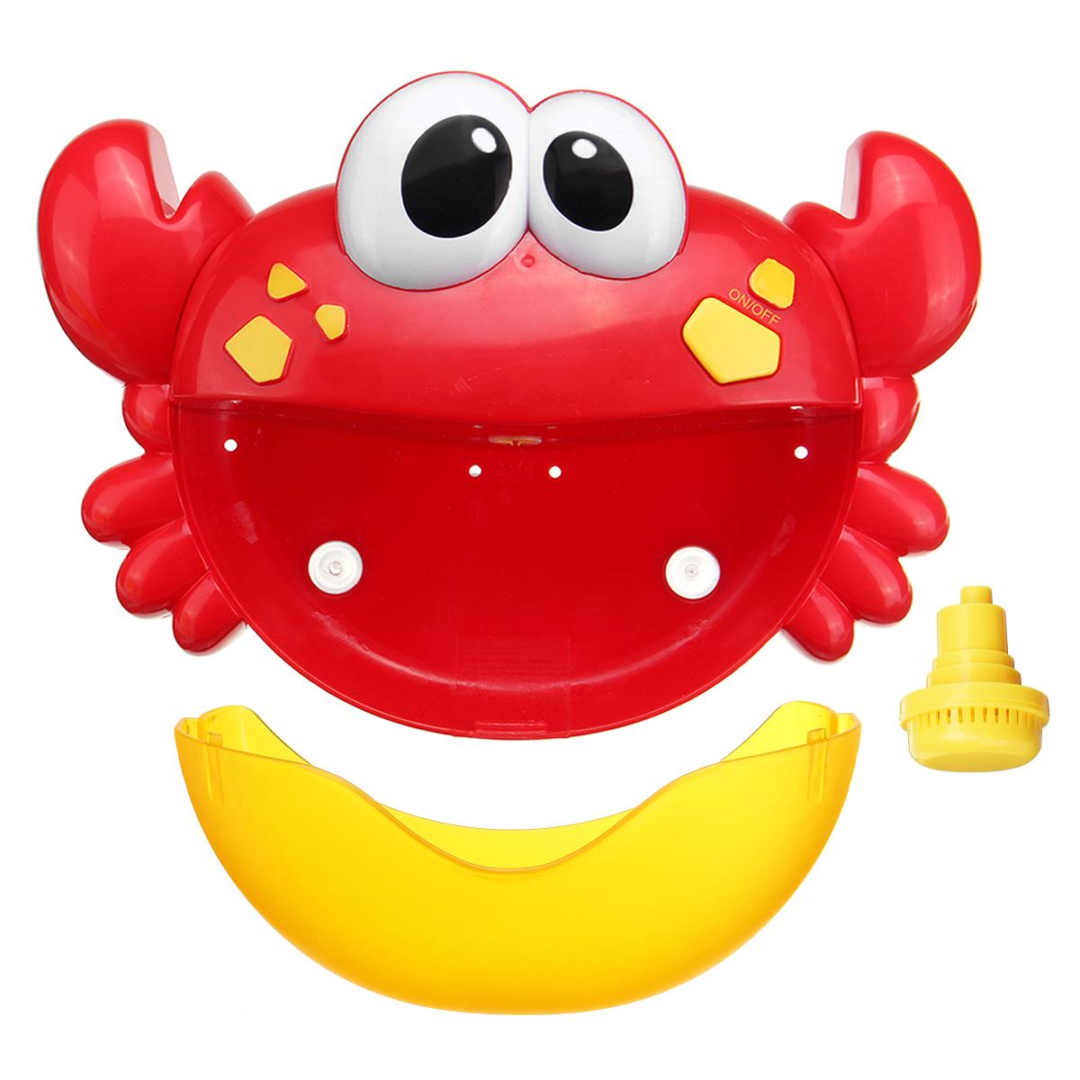 Adorable Crab Bubble Machine Music Bubble Maker Bath Baby Bath Shower Fun Red Plastic Toys