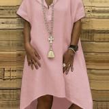 Women Irregular Hem Short Sleeve V-neck Solid Color Casual Dress