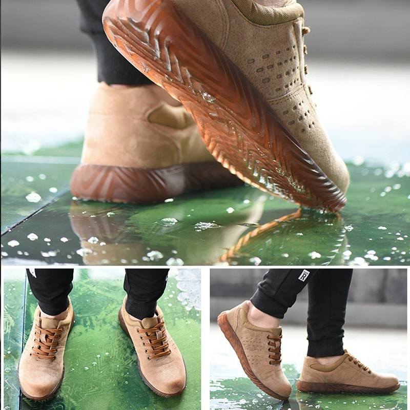 TENGOO Work Safety Shoes Flood Anti-Smashing Steel Toe Cap Hiking Camping Casual Running Shoes Working Protective Gear