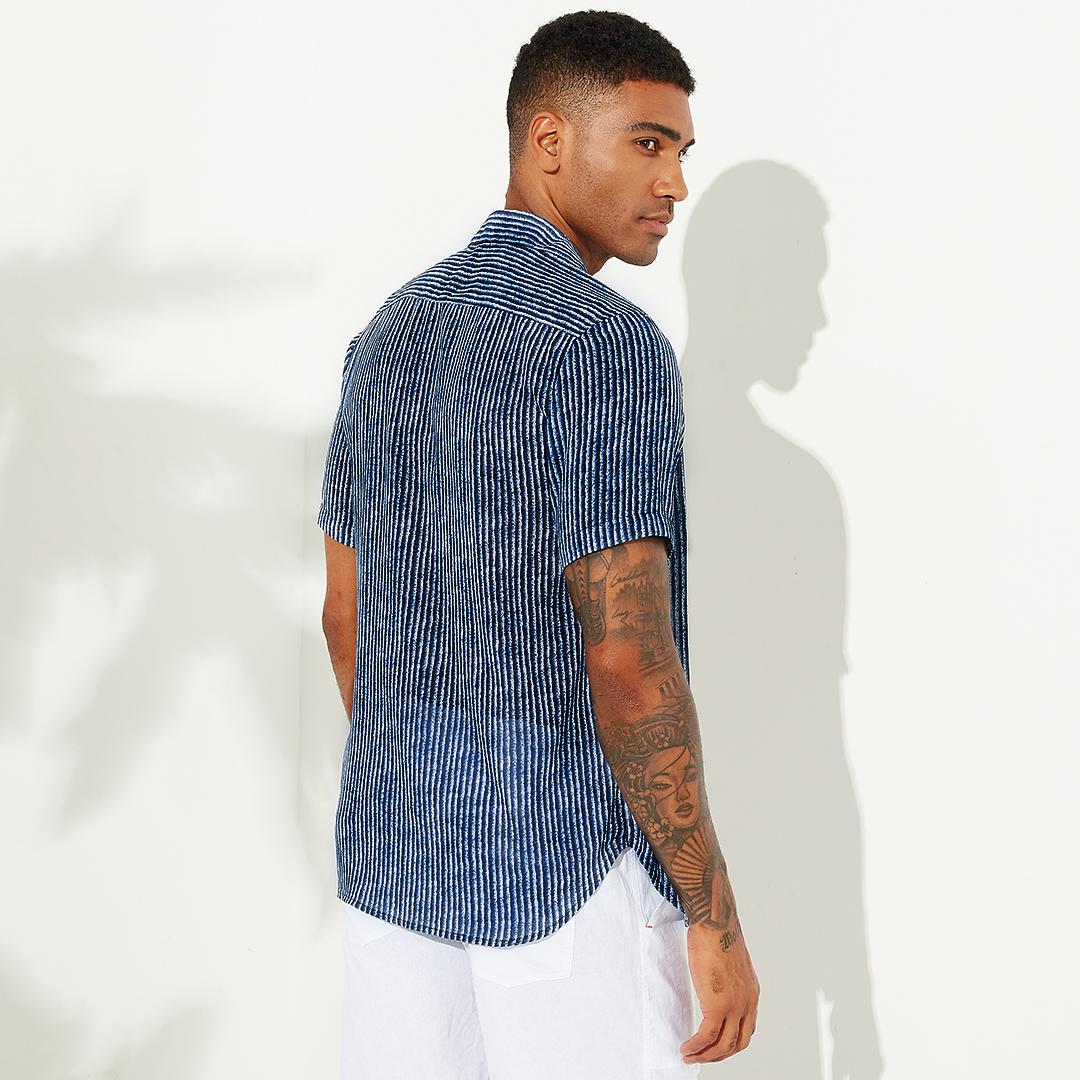 Mens Summer Stripe Design Short Sleeve Casual Shirts