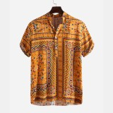 Mens Ethnic Style Printed Summer Casual Loose Henley Shirts