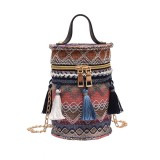 2.4L Women Handbag Straw Tassel Metal Chain Shoulder Bag Beach Tote Outdoor Travel
